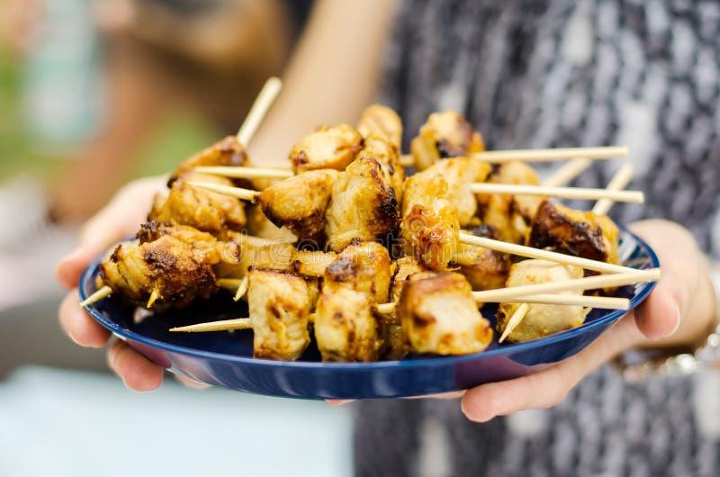 Brochettes de poulet photo stock