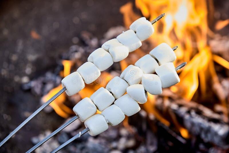 Brochettes des guimauves filetées pour le grillage images libres de droits