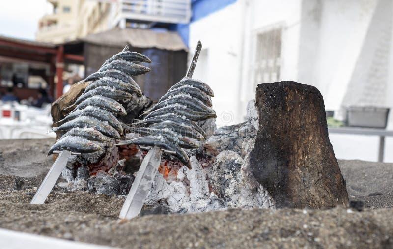 Brochettes des sardines piqu?es au-dessus de la terre grill?e sur la c?te espagnole photo stock