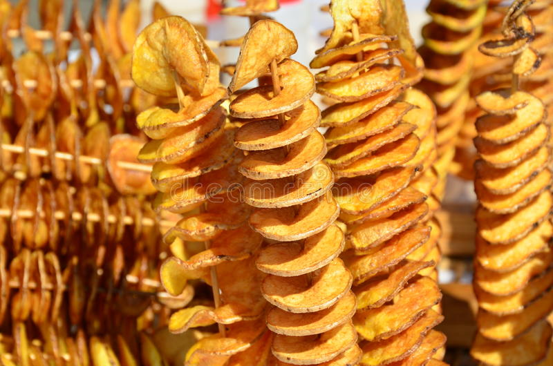 Brochettes en spirale frites de pomme de terre de tranche photo libre de droits