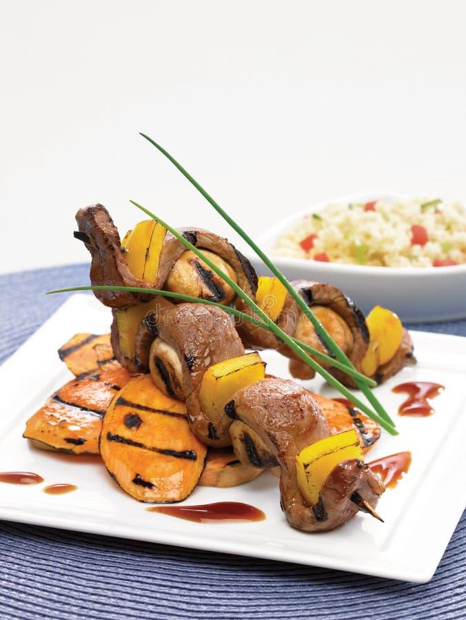 Brochettes teriyaki βόειου κρέατος στοκ φωτογραφία