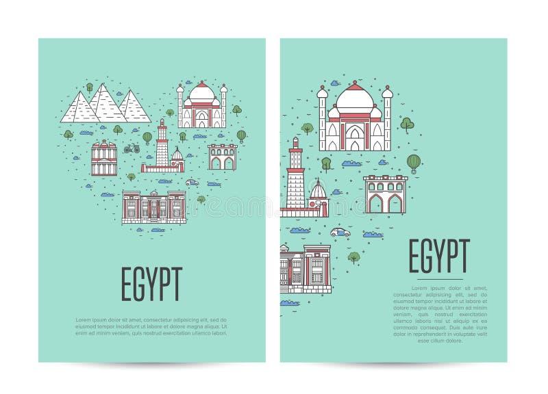 A brochura da excursão do curso de Egito ajustou-se no estilo linear ilustração royalty free