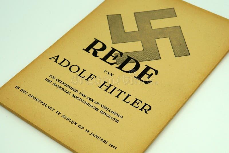 Brochura holandesa do discurso de Adolf Hitler em Berlin Sportpalast fotos de stock royalty free