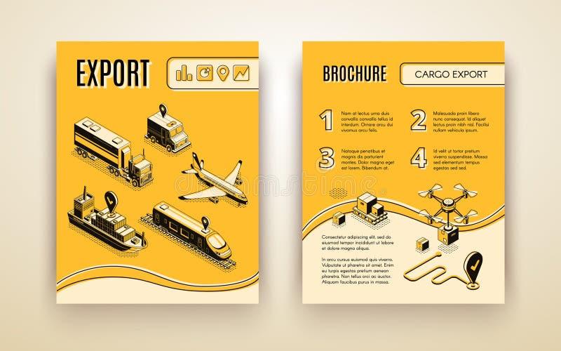 Brochura internacional do vetor do serviço de entrega ilustração royalty free