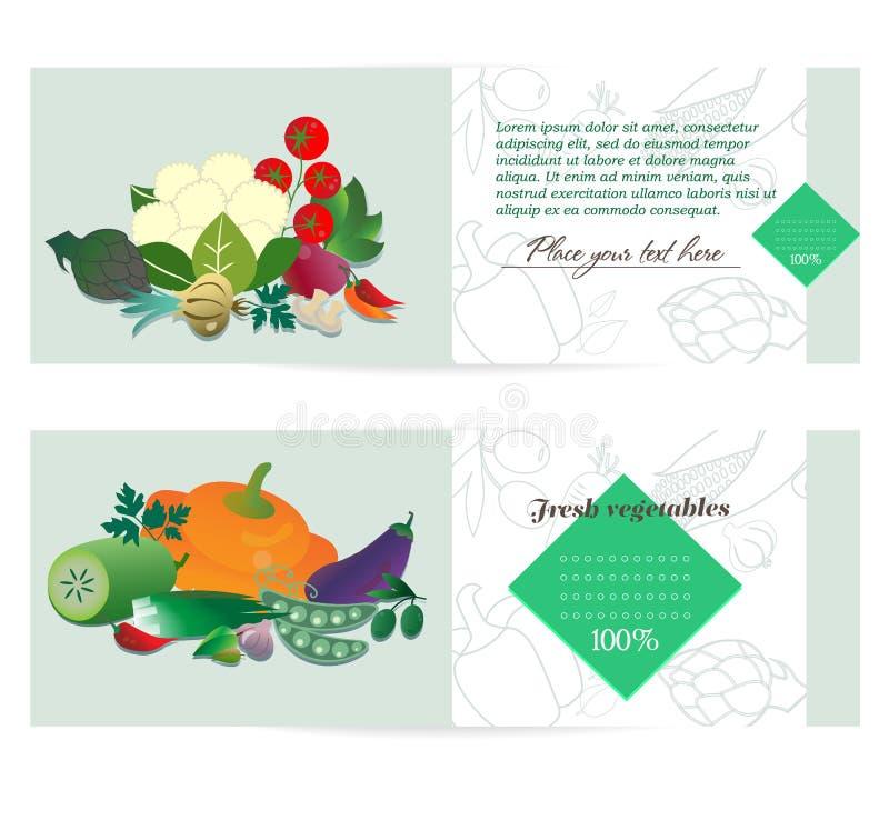 Brochura vegetal da propaganda da bandeira ilustração do vetor