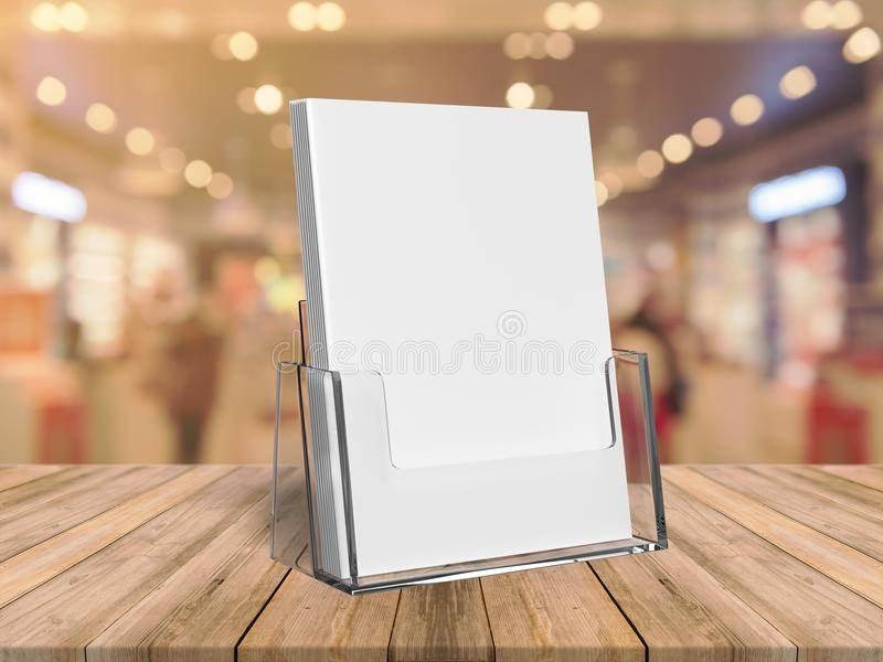 Brochure with brochure acrylic holder. 3d render illustration. Brochure with brochure acrylic holder for mock up. 3d render illustration vector illustration