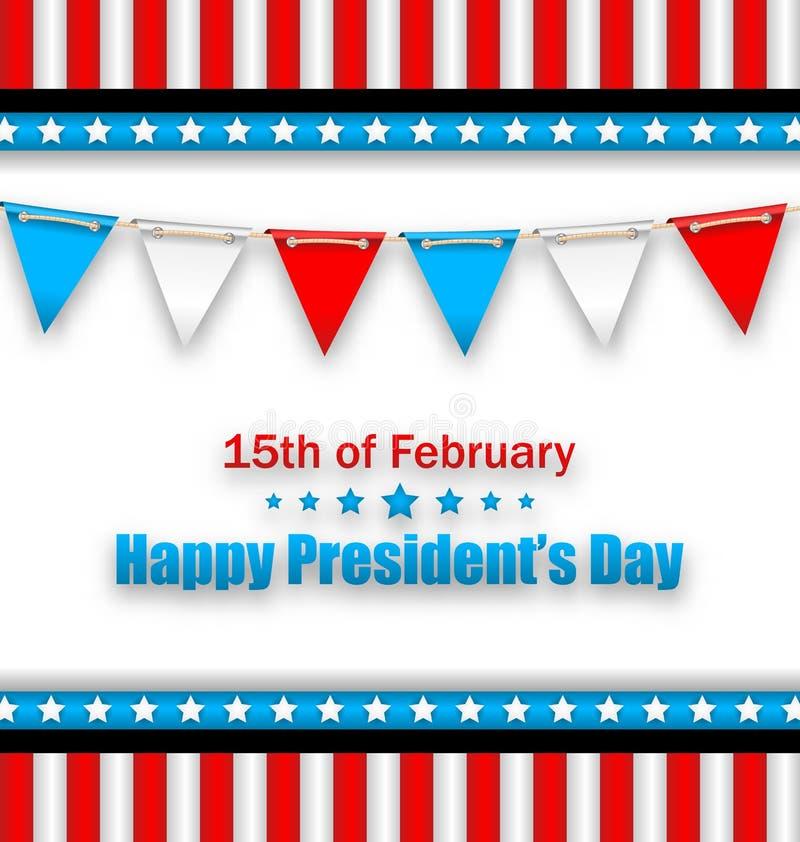 Brochure avec des drapeaux d'étamine pour les Présidents heureux Day des Etats-Unis illustration libre de droits