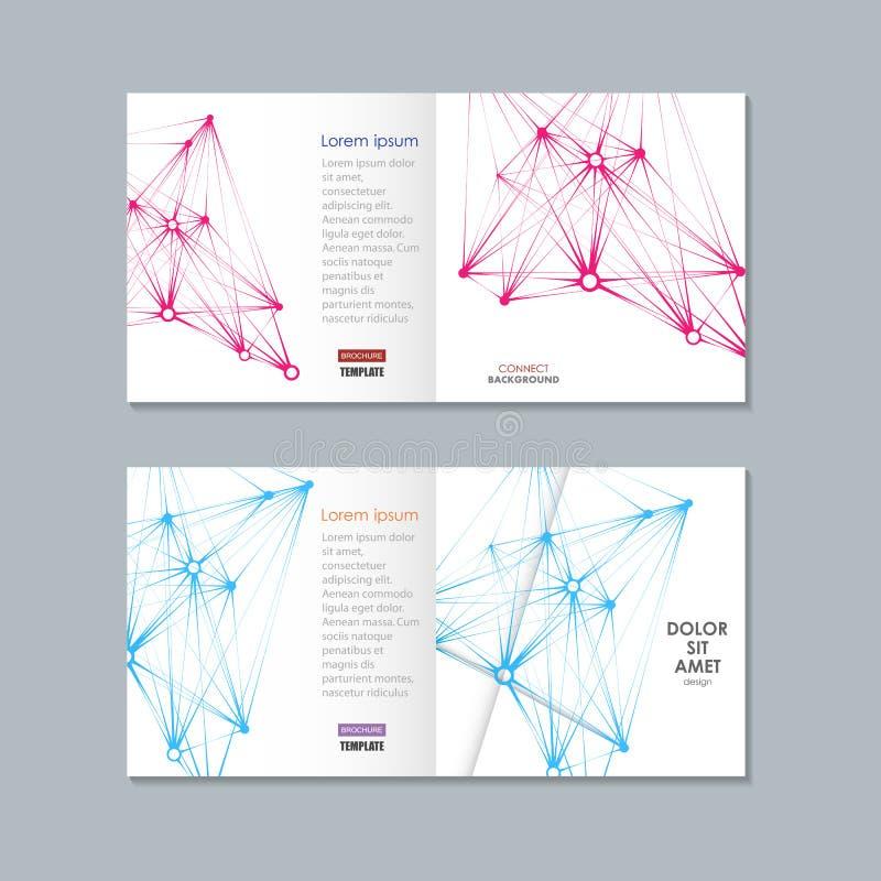 Brochure avec l'illustration de vecteur de structure de molécule photos libres de droits
