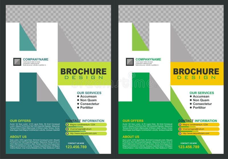 Brochure avec la couverture de style de logo de ` du ` H de lettre illustration de vecteur