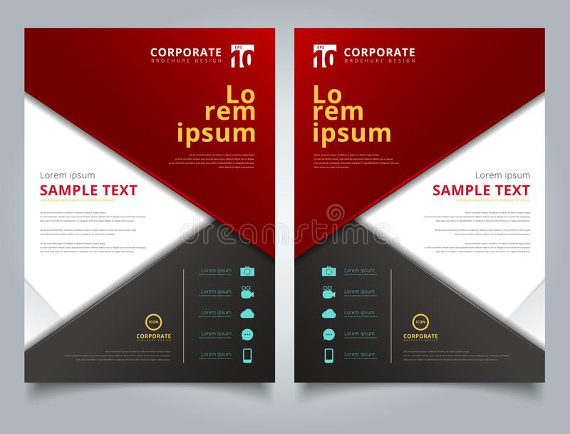 Brochure black and red geometric triangle with copy space on white background layout design template royalty free illustration