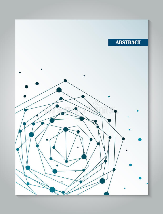 Brochure blue cover design template with abstract network connection concept background vector illustration