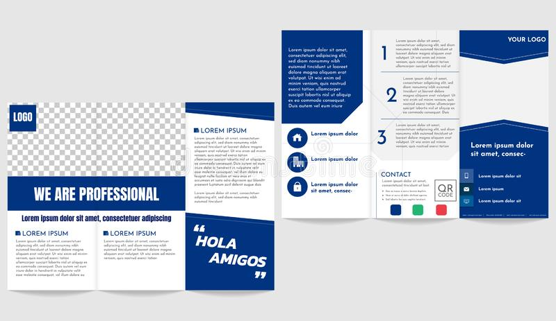 Brochure business trifold flyer template depp blue theme stock illustration