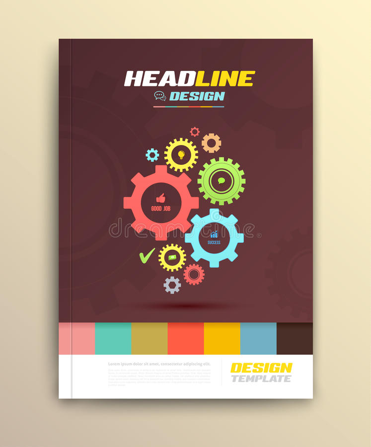 Brochure cover design with cog wheels Templates. stock illustration