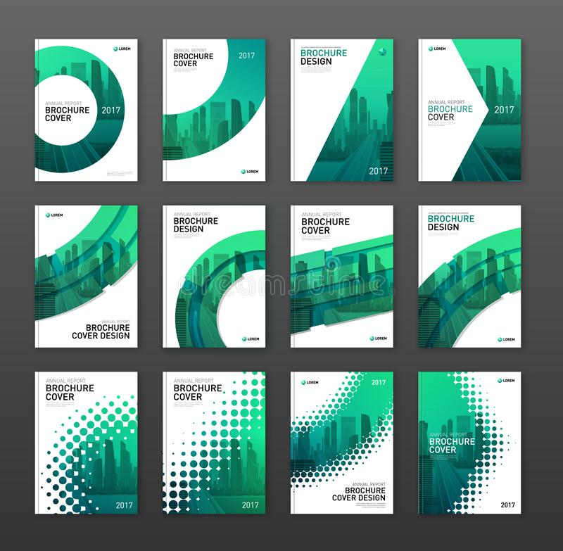 Annual report brochure cover design layout set vector illustration