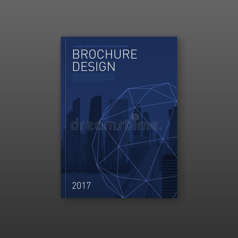 Brochure cover design template for architecture stock illustration