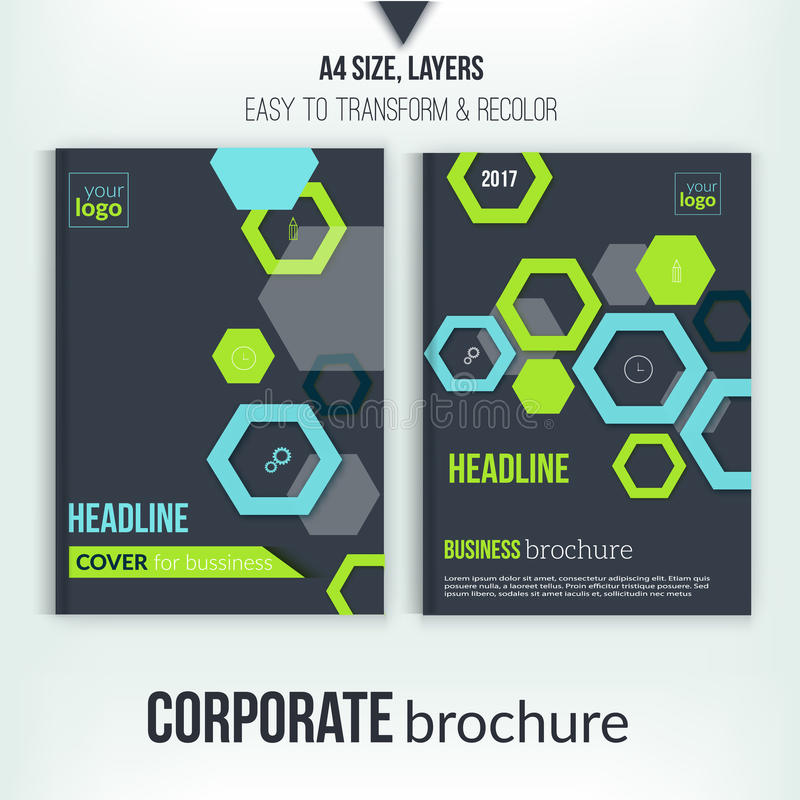 Brochure cover design template. Geometric abstract shape flyer on dark background. Green Corporate identity. Business vector illustration