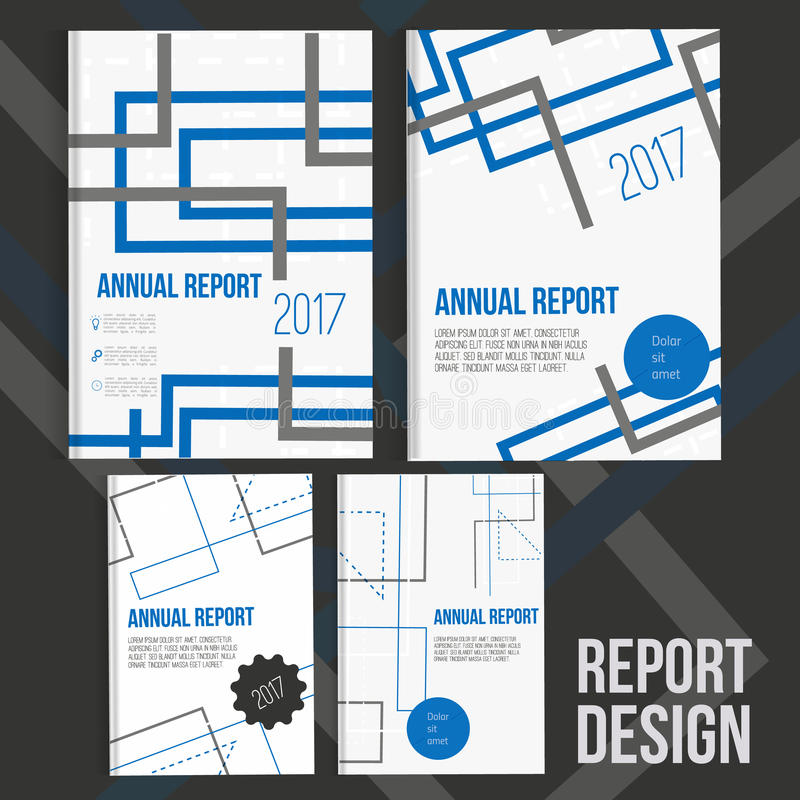 Brochure cover design templates with abstract geometric connections, technology style backgrounds for your business. stock illustration
