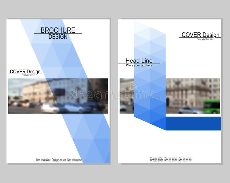 Brochure cover design. Vector brochure cover templates with blurred cityscape. EPS 10. Mesh background stock illustration