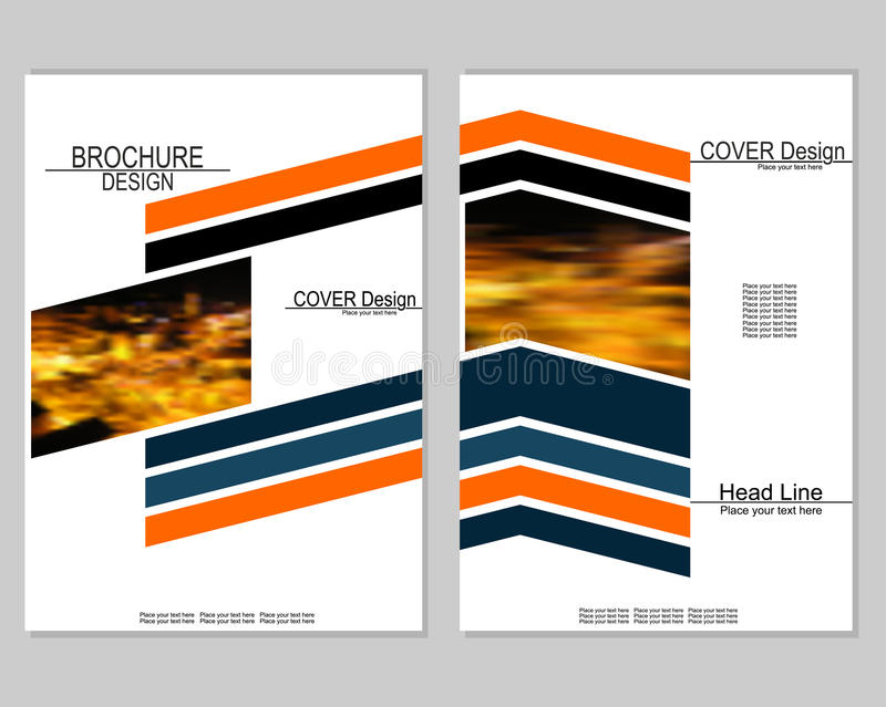 Brochure cover design. Vector brochure cover templates with blurred night cityscape. EPS10 stock illustration