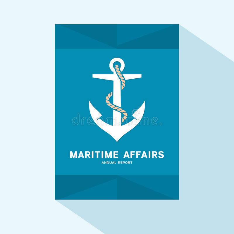 Brochure cover flat design with anchor icon royalty free illustration
