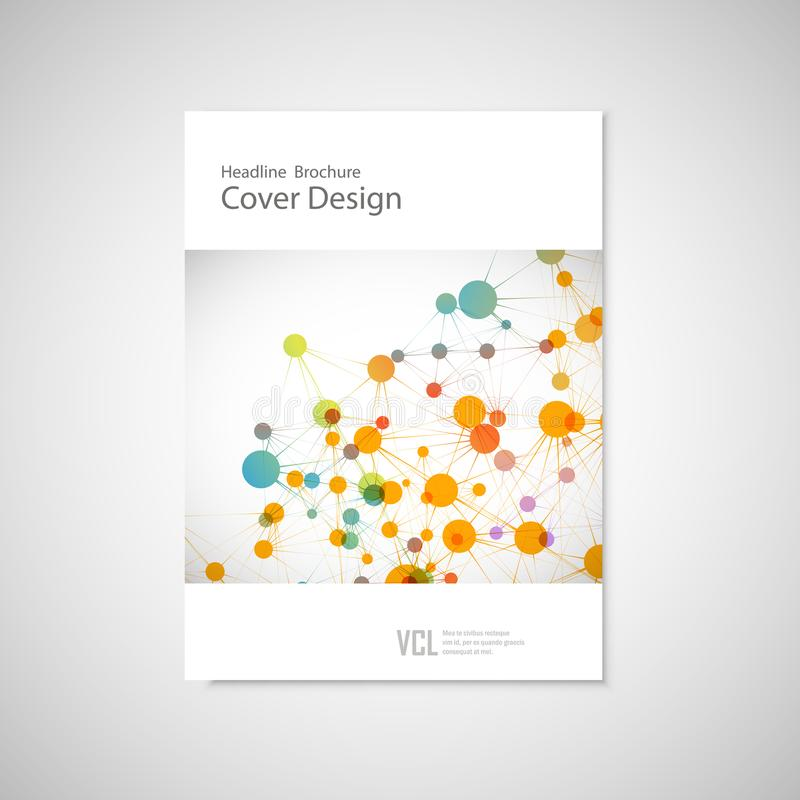 Brochure cover template for connect, network, healthcare, science and technology royalty free illustration