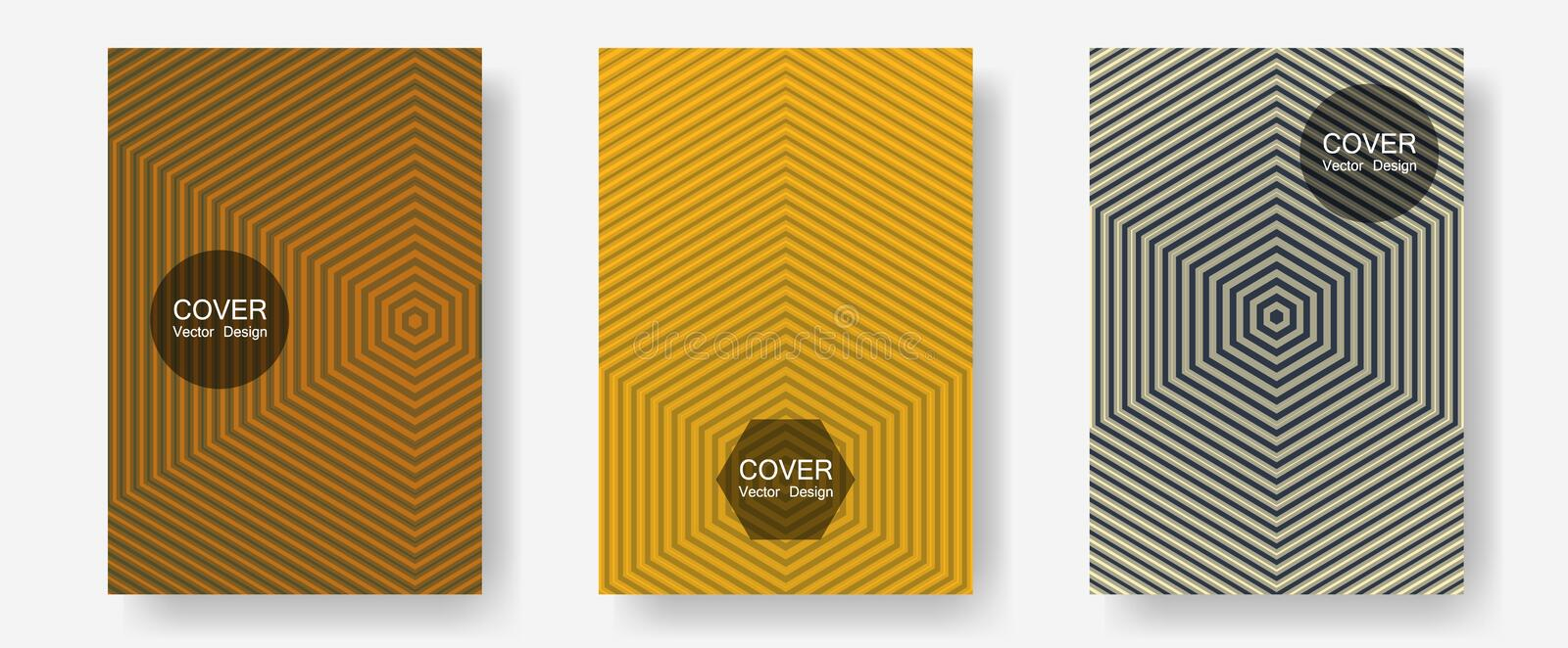Brochure covers, posters, banners vector templates. Presentation backdrops. Halftone lines annual report templates. Minimal booklets. Geometric graphic design stock photo
