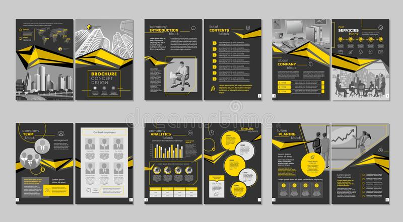 Brochure creative design. Multipurpose template with cover, back and inside pages. Vertical a4 format. Brochure creative design. Multipurpose template with stock illustration