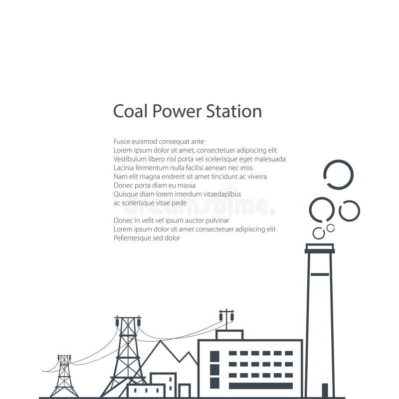 Brochure d'affiche de centrale de centrale à charbon illustration de vecteur