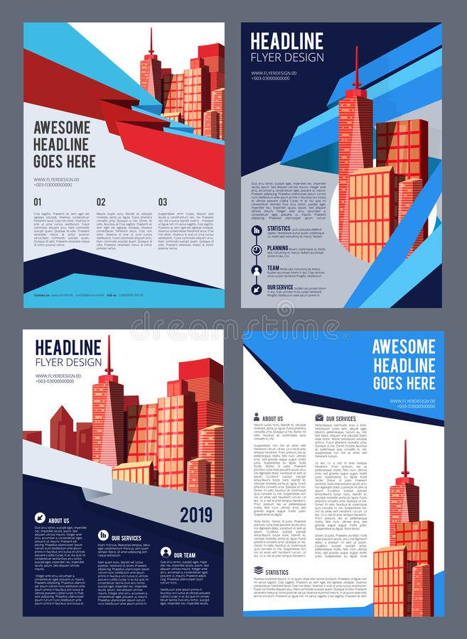 brochure d'immobiliers La présentation de société de bâtiments de reconstruction de couverture de magazine d'insecte loge les obj illustration libre de droits