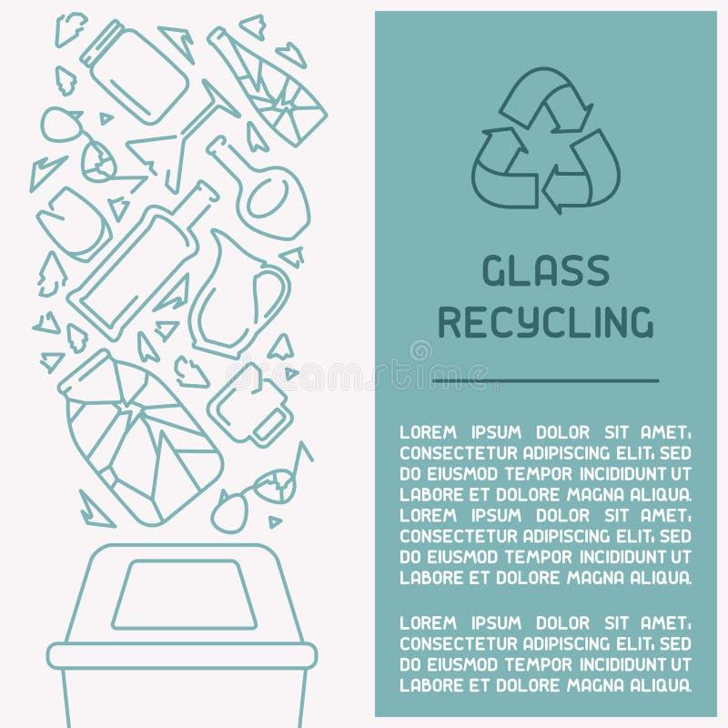 Brochure d'information en verre de recyclage des déchets illustration libre de droits