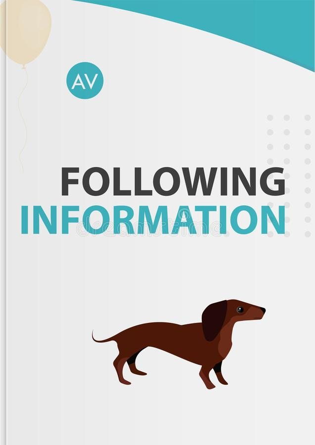 Brochure d'instructions de soin des animaux familiers de couverture illustration de vecteur