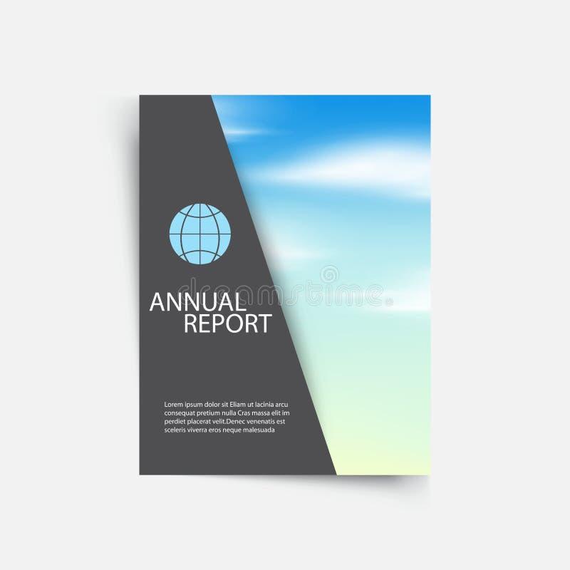 Brochure de conception de disposition, rapport annuel, couverture Fond gris avec le ciel bleu et les nuages blancs illustration de vecteur