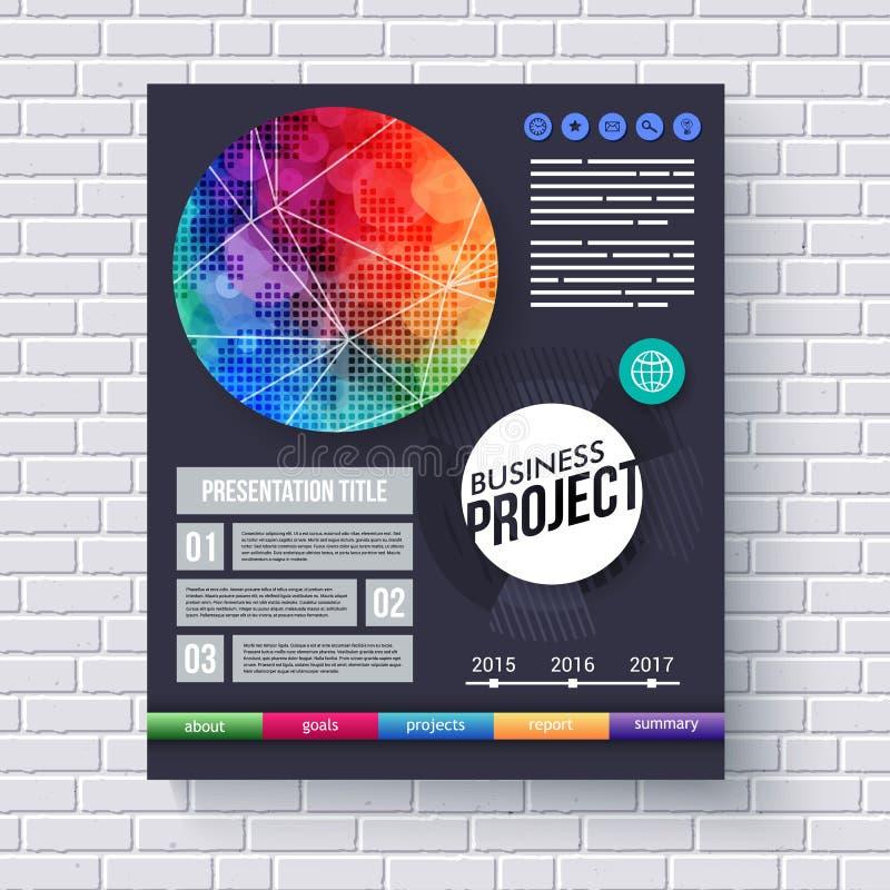 Brochure de projet d'affaires ou calibre de présentation illustration stock