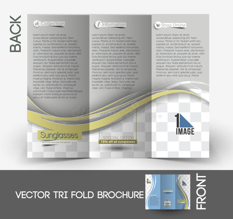 Brochure de Sunglasses Store Tri-Fold d'opticien illustration stock