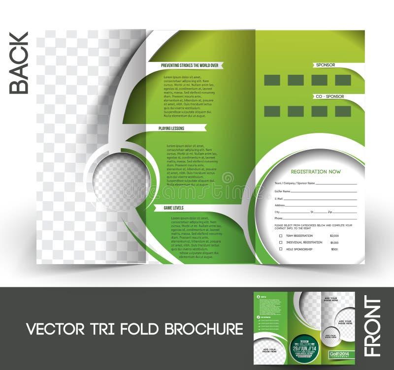 Brochure de tournoi de golf illustration stock