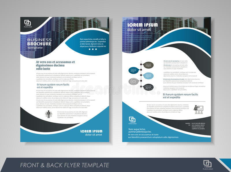 Brochure design. Blue annual report brochure flyer design template. Leaflet cover presentation abstract background for business, magazines, posters, booklets vector illustration