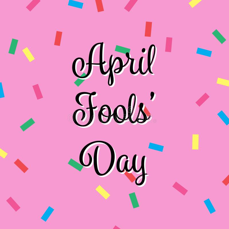 April Fools Day Banner, Happy Fools'day greeting card, black letter isolated on Pink background confetti Pattern stock illustration