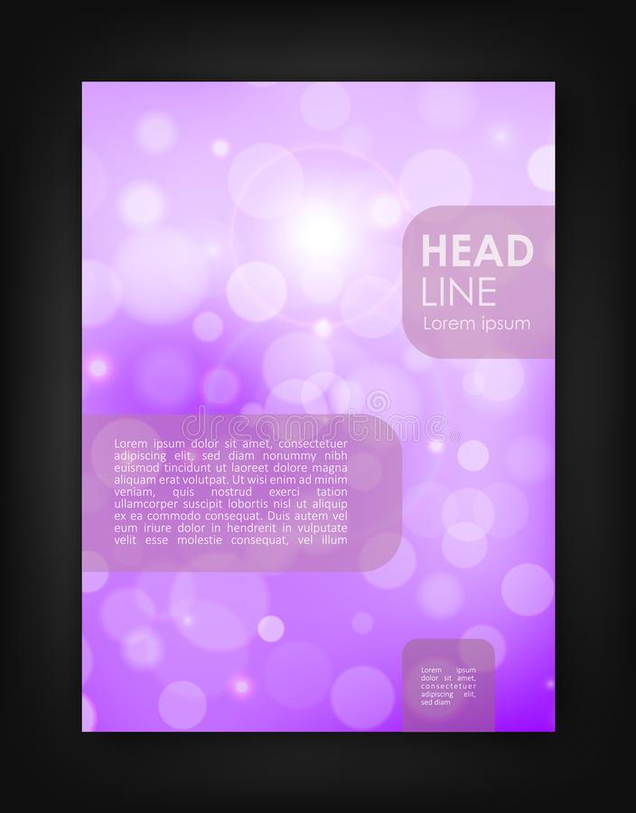 Brochure design template with bokeh backgrounds stock illustration