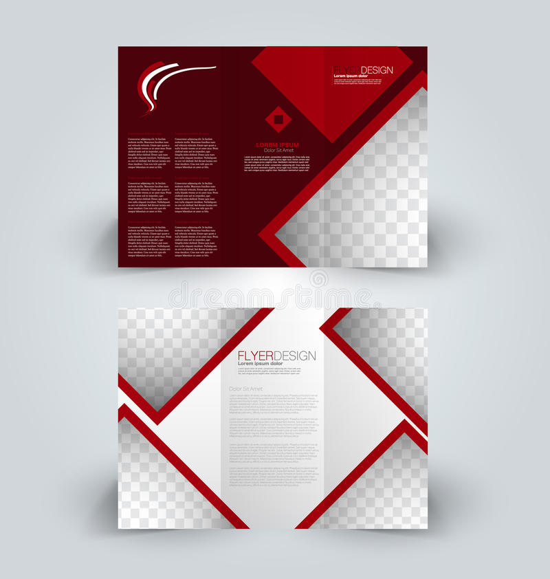 Brochure design template for business education advertisement. Trifold booklet vector illustration