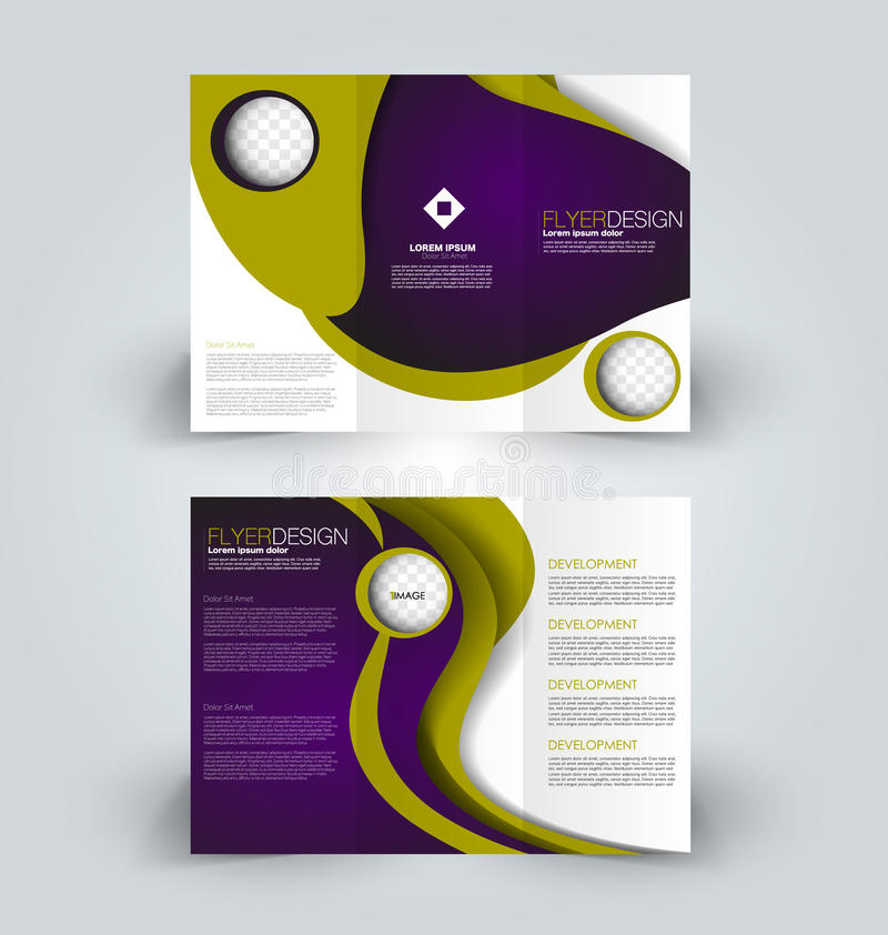 Brochure design template for business education advertisement. Trifold booklet. Brochure template. Business trifold flyer. Creative design trend for professional stock illustration