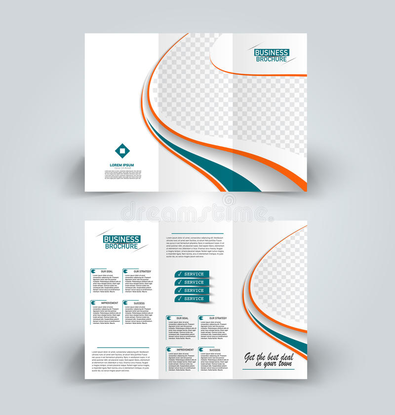 Brochure design template for business education advertisement. Trifold booklet. Brochure template. Business trifold flyer. Creative design trend for professional vector illustration
