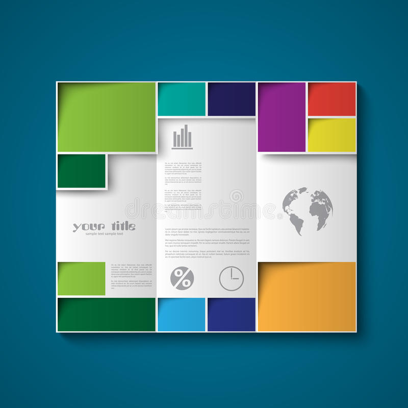 Brochure design template with color rectangles vector illustration