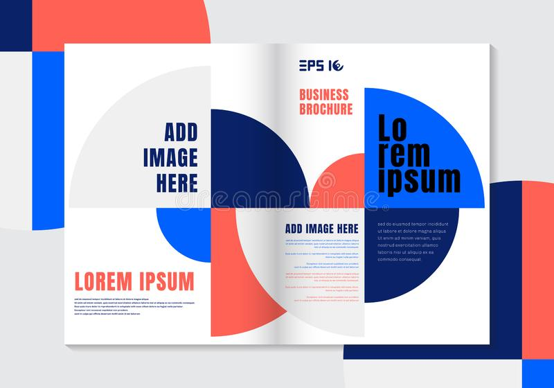 Brochure design template geometric vivid color circle element background vector illustration