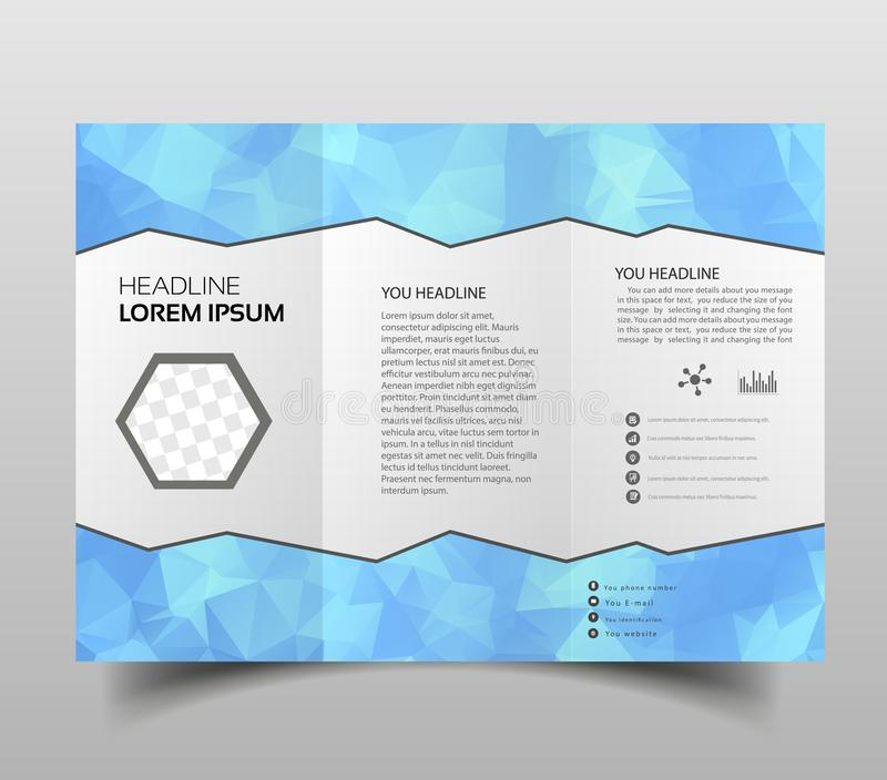 Brochure design template polygonal tri-fold abstract triangles, Modern triangle presentation template. Business design background. Brochure or flyer concept or stock illustration