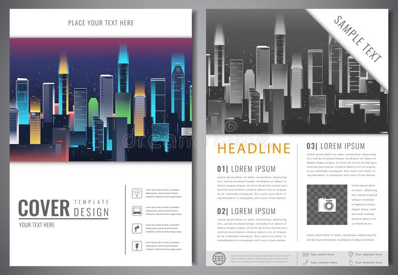 download brochure design template with urban landscape leaflet cover presentation with flat city landscape background