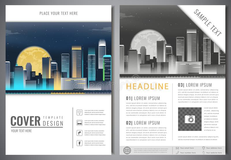 brochure design template with urban landscape leaflet cover presentation with flat city landscape background layout in a4 size vector illustration