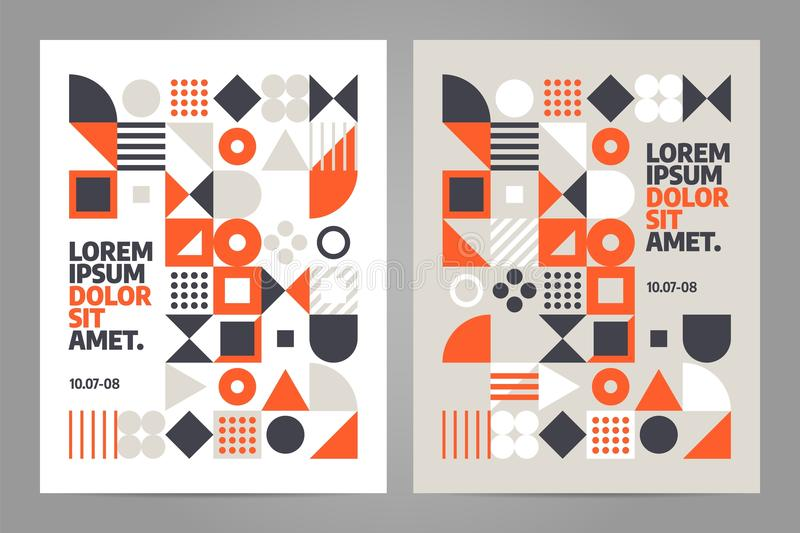 Brochure design template vector. Brochure design template with simple shape and figure. Abstract vector pattern design in Scandinavian style for web banner
