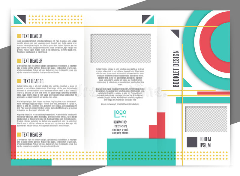Brochure design template. vector trifold geometric abstract. trandy colors stock illustration