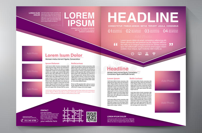 Brochure design two pages a4 template. royalty free illustration