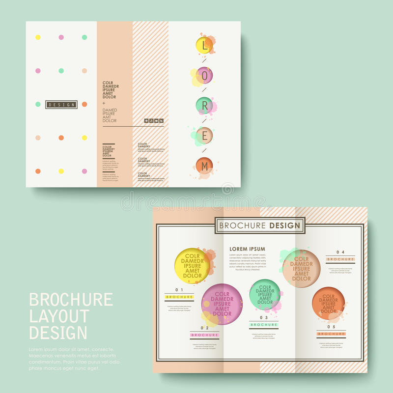 Brochure design with watercolor style vector illustration